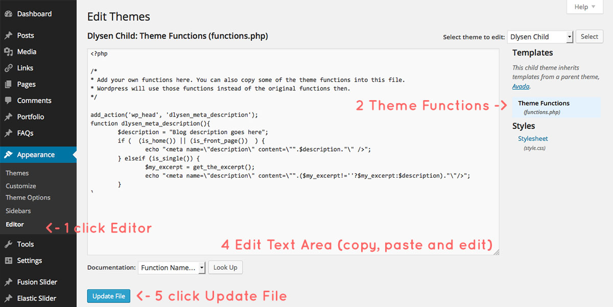 how to edit wordpress theme function.php