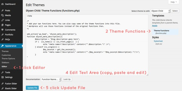 How to add meta tag description of your wordpress blog for How to edit wordpress templates